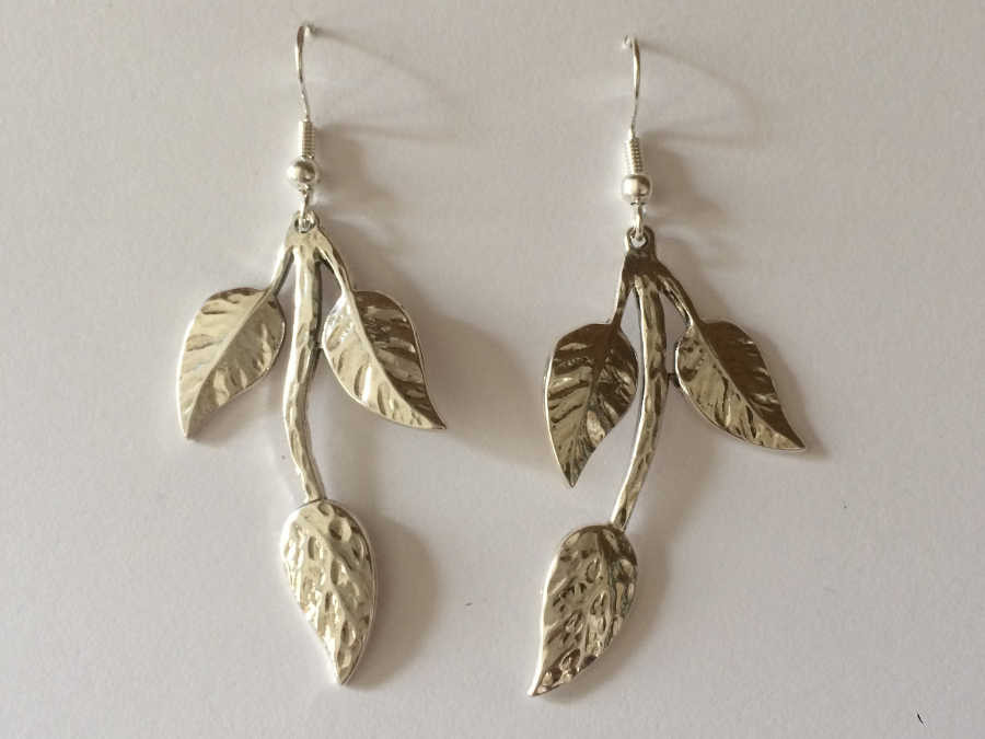 Earrings BRANCHE Silver plated patinated