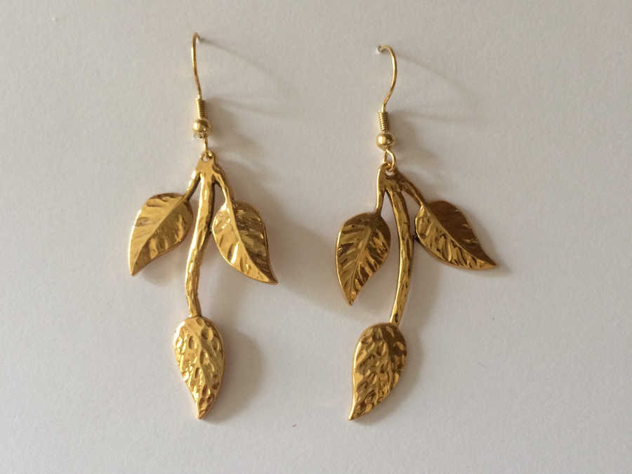 Earrings BRANCHE Gold plated patinated