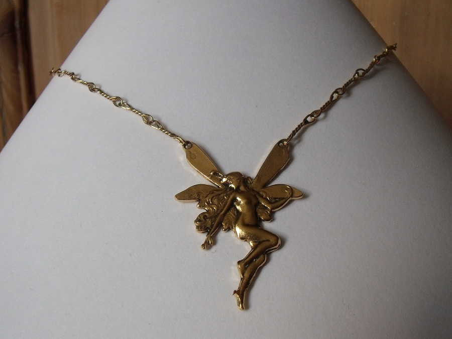 Necklace Simplicité Gold plated patinated