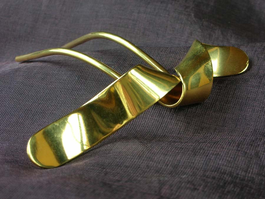 Hairpin Volute Gold plated patinated
