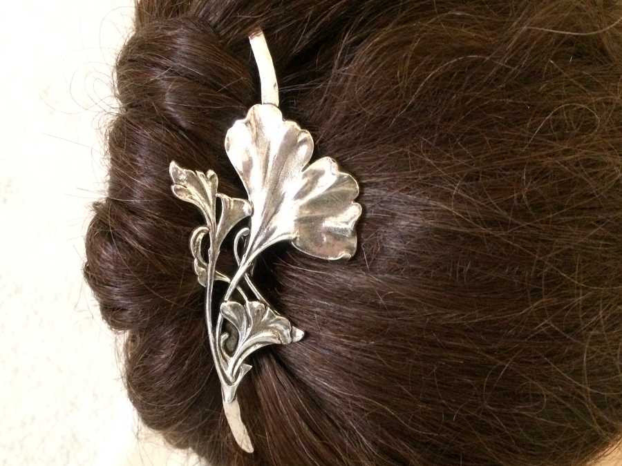 Hairpin Feuilles de Ginko Silver plated patinated