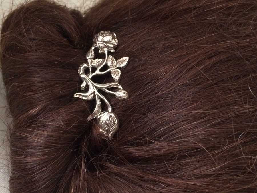 Hairpin Double fleur Silver plated patinated