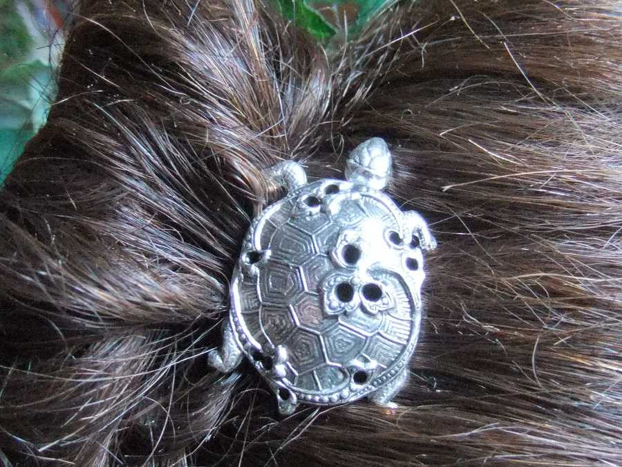 Hairpin carapace Silver plated patinated