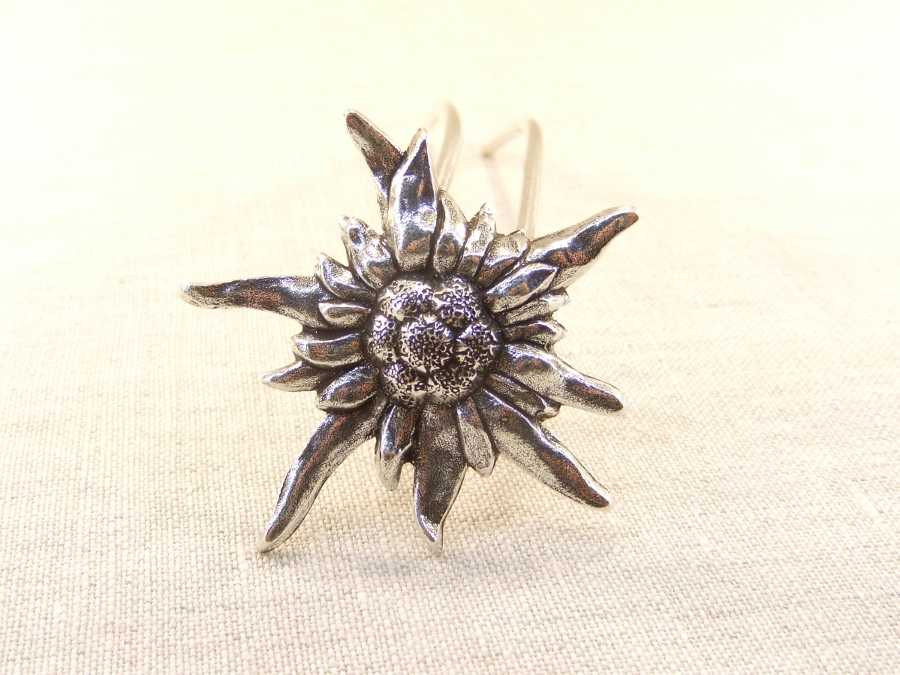 Hairpin Edelweiss Silver plated patinated
