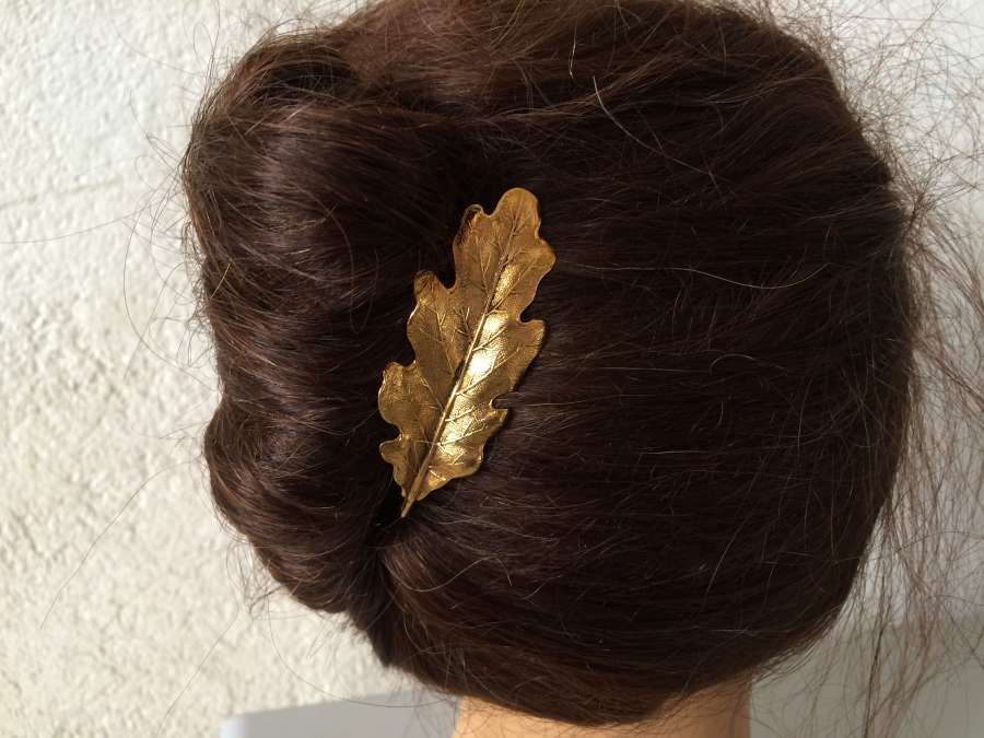 Hairpin Chêne Gold plated patinated
