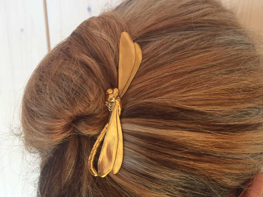 Hairpin Romaine Gold plated patinated