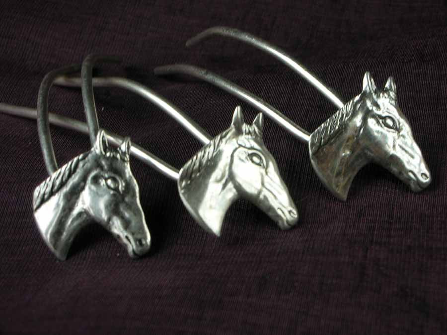 Small Hairpins Chevaux Silver plated patinated