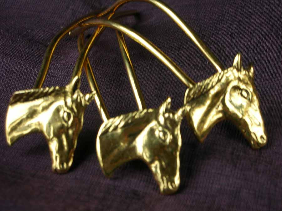 Small Hairpins Chevaux Gold plated patinated