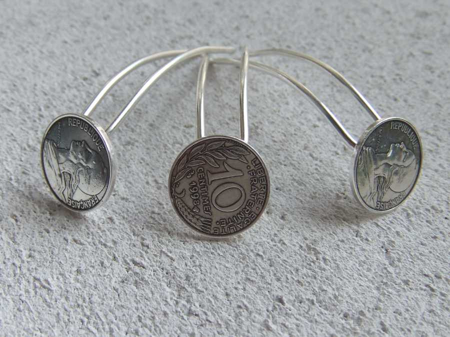 Small Hairpins Epingles à 4 sous Silver plated patinated