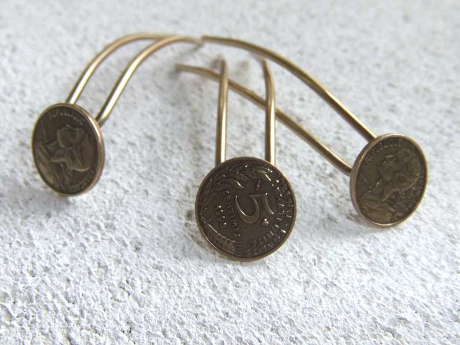 Small Hairpins Epingles à 4 sous Oxidized brass