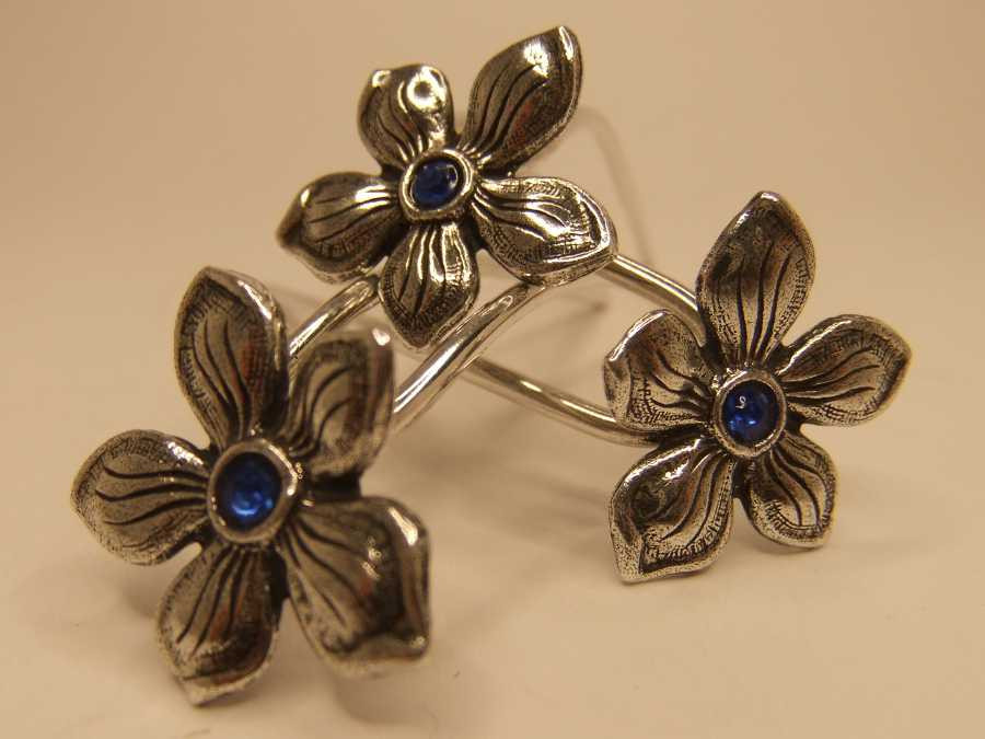 Small Hairpins violette Silver plated patinated