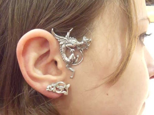Ear Wrap Dragon ailé Silver plated patinated